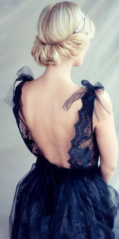 Black lace evening dress, open back dress