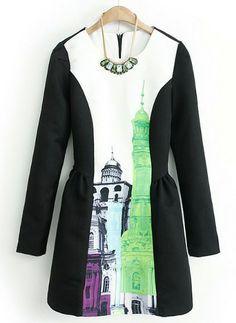 Black Long Sleeve Building Print Flare Dress US$42.67