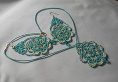 Tatting jewelry, turquoise jewelry set, set jewelry lace, lace earrings, lace necklace, jewelry set tatting ,blue earrings, blue necklace