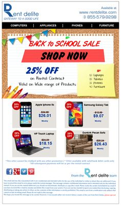 Back to School sale from RentDelite ! Shop and Get 25 % off on Brand New #Smartphones, #Computers & more…