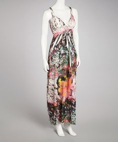 Take a look at this Pink & Black Floral Sublimated Maxi Dress on zulily today!