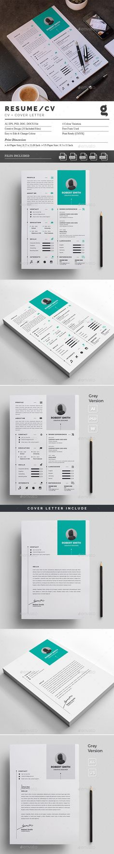 Creative Resume Template - CV Template - Free Cover Letter - Word ...