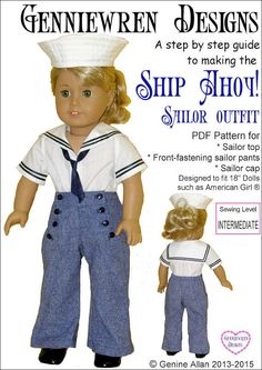 Pixie Faire Genniewren Designs Ship Ahoy! Sailor Outfit Doll Clothes Pattern for 18 inch American Girl Dolls - PDF