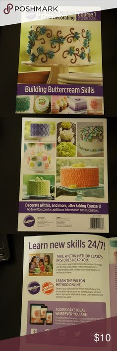 The wilton method of cake decorating course 1 Like NEW. Course 1 student guide building buttercream skills. Helps you build piping skills for decorating cupcakes and cakes for pros or beginners. Making the consistency for the icing, 6 different buttercream icings,  how to use a piping bag, pipe lines, writing letters on the cake, borders, shapes, roses, transfer images to a cake to decorate.  Firm on price 💜 wilton Other