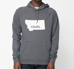 Montana  Roots or Made American Apparel Pullover Hoodie - Unisex Size S M L XL