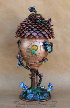 "Polymer Clay ""Cuckoo Bee Honey Fairy House"" by Fairies and Fancies"