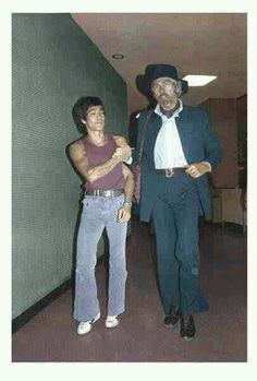 """""""Bruce Lee with James Coburn c. 1970's."""" #Hollywood #Movie #History #Classic #BruceLee #JamesCoburn #BehindTheScenes"""