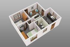 Plantas de casas com 2 quartos 1