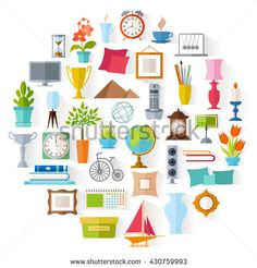 The set of home decor. Accessories, icons and souvenirs in a flat style isolated on white background. Vector illustration. Elements of interior design.