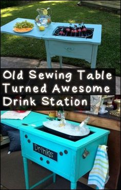 A drink station made from an old sewing table: a simple and regenerating idea, but really smart! Informations About Create your own drink station from an old sewing table! Vintage Industrial Furniture, Refurbished Furniture, Repurposed Furniture, Pallet Furniture, Outdoor Furniture, Cabin Furniture, Western Furniture, Furniture Dolly, Furniture Stores