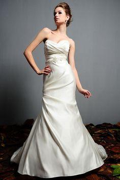Mermaid Sweetheart Wrap Pleated Bodice Embroidered Beaded Waist Satin Wedding Dress-wm0036, $239.95