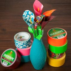 Duck tape lily flowers
