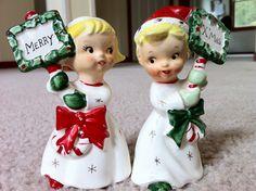 Darling Vintage Napco Ceramic Christmas Salt and Pepper Shakers | eBay