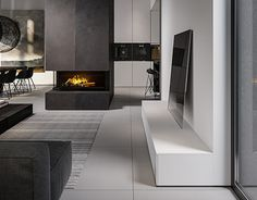 House in Olsztyn, Poland. Livingroom and kitchen