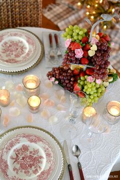 Romantic Table for Two for Valentine's Day! Transferware, rose petals, votives and fruit and cheese centerpiece | homeiswheretheboatis.net