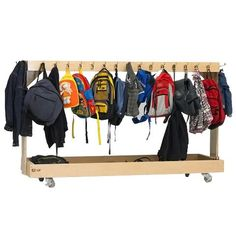Mobile backpack and coat cart Backpack Storage, Coat Storage, Outdoor School, Outdoor Classroom, Preschool Backpack, Do It Yourself Organization, Outdoor Coats, Doll Closet, Classroom Furniture
