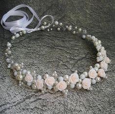 Flower Bridal Headpiece,Roses Crown,Pearl Bridal Tiara,Bridal Hair Accessories,F… Wedding Headband, Bridal Tiara, Bridal Headpieces, Bridal Jewelry, Pearl Bridal, Bridal Updo, Flower Girl Headbands, Floral Headbands, Flower Hair Accessories
