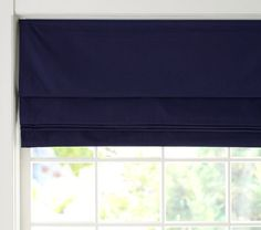 Twill Cordless Roman Shade with Blackout Lining ... navy or white   Pottery Barn Kids