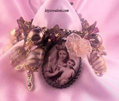 """Flower of Carmel"" Catholic Virgin Mary Religious Saints Medals Charm Bracelet #Handmade #HolyMedalCharmPendant www.letyscreations.com"