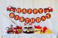 Fire truck birthday banner
