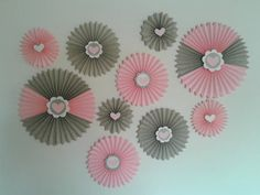 Set Of 10 - Pink & Grey Paper Rosettes, Its A Girl Banner - Table Backdrop…