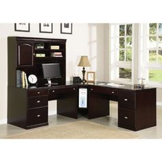 @Overstock - Cape Espresso Wood Office Desk - With a timeless, classic design, this beautiful Cape desk will be a beautiful addition to your home or office setting to keep you organized and your space looking stylish. A warm espresso color finishes this four-door wood desk.  http://www.overstock.com/Home-Garden/Cape-Espresso-Wood-Office-Desk/6806282/product.html?CID=214117 $716.99