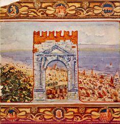 Rimini 1956  L'arco e la spiaggia Illustrazione per la copertina della Gioda di Rimini dello storico riminese Nevio Matteini