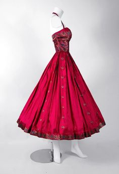 1940's Fuchsia Floral Print Metallic Indian-Silk Halter Full-Skirt Party Dress | From a collection of rare vintage evening dresses at https://www.1stdibs.com/fashion/clothing/evening-dresses/