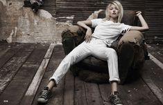 Martha Hunt Poses in Denim for Adam Franzino in Elle Australia Shoot
