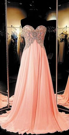 Long Chiffon Coral Prom Dress Elega
