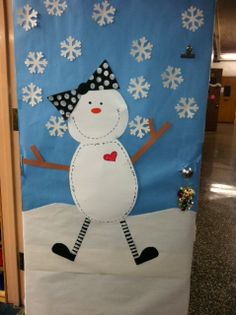 Snowman snowgirl winter classroom door or have girls paint a snow girl while boys paint a snowman