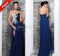 Wholesale Evening Dresses - Buy 2014 Modern Sexy Crew Backless Sheath Chapel Train Beads Crystal Zuhair Murad Satin Evening Dresses, $159.0 | DHgate