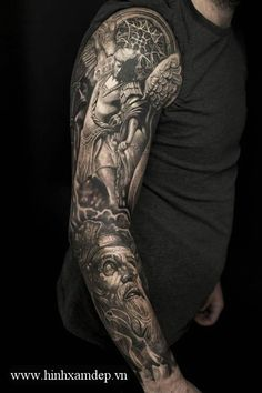 Tattoo Sleeve Men Arm Skull Drugs 44 Ideas For 2019 Angel Sleeve Tattoo, Vintage Tattoo Sleeve, Tiger Tattoo Sleeve, Mandala Tattoo Sleeve, Nature Tattoo Sleeve, Full Sleeve Tattoos, Tattoo Sleeve Designs, Skull Sleeve, Angel Tattoo Men