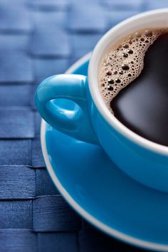Photo about A blue coffee cup full of black coffee on a blue background. Image of brewed, handle, macro - 31695367 Decaf Coffee, Coffee Cafe, Coffee Drinks, Coffee Shops, Coffee And Books, I Love Coffee, My Coffee, Monday Coffee, Coffee Today