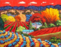 Gene Brown High Meadow Red Sky - Southwest Gallery: Not Just Southwest Art. Landscape Art, Landscape Paintings, California College Of Arts, Different Art Styles, Southwest Art, Hand Painted Canvas, Naive Art, Needlepoint Canvases, Painting Patterns