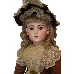 26 Ultra Rare French Bisque Character Doll 225 by Emile Jumeau Art Character Series WOW! This is a doll that doesn't come along often - a rare