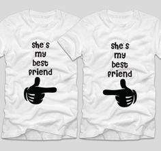 She's my best friend  Cele mai bune prietene din lume trebuie sa aiba si tricouri pe masura, nu-i asa? Daca si tu simti ca veti fi prietene pentru totdeauna, atunci mesajul vi potriveste.  Daca tu si cea mai buna prietena vreti sa aveti tricouri personalizate, cu mesaje haioase, ai ajuns unde trebuie! My Best Friend, Best Friends, Bff, Mens Tops, Clothes, Women, Beast, Beat Friends, Outfits