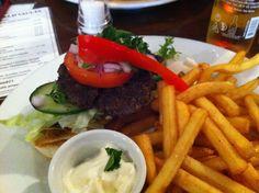 Homemade Burger, good fries, homemade garlic mayo at the Lichfield Vaults - great service