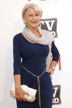Helen Mirren. Love the whole getup! Low neckline! Sleeves! Scarf! Waist emphasis! <3