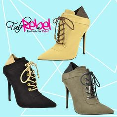 Lace-Me-Up~! Very~chic pointy-toe lace up stiletto booties... www.fabrebel.com #shoe #booties #heels #laceup #pointytoe #stiletto #perfectpair #shoeslover #shoesdiva