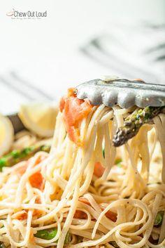Lemon Pasta with Smoked Salmon and Asparagus