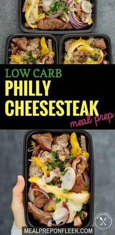 Healthy Meals Low Carb Philly Cheesesteak Meal Prep - A fast, simple and flavorful recipe that is made with low carb ingredients. Gluten free and keto too! Lunch Recipes, Beef Recipes, Low Carb Recipes, Healthy Recipes, Recipies, Zoodle Recipes, Tilapia Recipes, Spiralizer Recipes, Low Carb Lunch