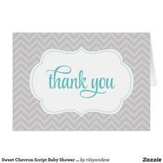 Sweet Chevron Script Baby Shower Thank You Card