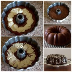I remember when my sister used to bake this. Chocolate Bundt Cake with a Cream Cheese Swirl - A moist, chocolate sour cream bundt cake covered in a rich chocolate ganache with a luscious cream cheese swirl hiding inside. Chocolate Bundt Cake, Chocolate Desserts, Chocolate Ganache, Vegan Chocolate, Chocolate Cream Cheese Cake, Ganache Icing, Chocolate Strawberries, Chocolate Muffins, Baking Recipes