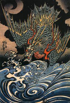 Japanese Dragon God Waves by Kuniyoshi Canvas Print Poster Art And Illustration, Botanical Illustration, Art Chinois, Art Asiatique, Kuniyoshi, Art Japonais, Japan Tattoo, Poster Prints, Art Prints