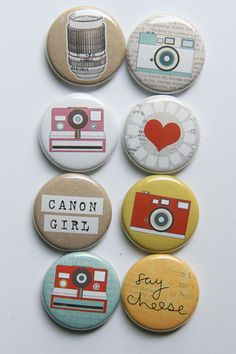 Latest Post: TGIF!!  http://whatwouldpamsay.blogspot.com/2013/07/something-new-added-to-my-life.html   Say Cheese Canon Girl Flair by aflairforbuttons on Etsy, $6.00