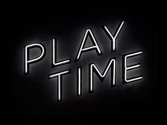 Play Time Neon Typography on Black Background