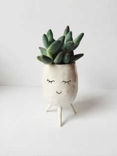 Happy Little Plant Pot von ValpoStudio auf Etsy - DIY Garden Deko Succulent Pots, Cacti And Succulents, Potted Plants, Indoor Plants, Planter Pots, Indoor Cactus, Mini Cactus, Cactus Cactus, Cactus Flower