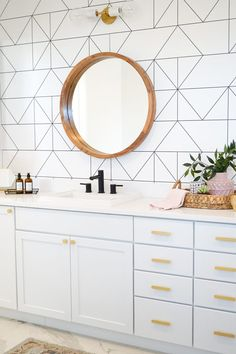 Mid Century Modern BohoMaster Bath Makeover with black hardware and gold, marble Mitzi Lighting | Make & Do Studio