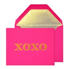 Escorial XOXO Notecard Set from Paper Luxe Stationery & Gifts. Saved to Sugar Paper LA. Pink Love, Pink And Gold, Pretty In Pink, Hot Pink, Perfect Pink, Perfect Match, Bright Pink, Be My Valentine, Funny Valentine
